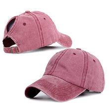 Регулируемая бейсбольная кепка «конский хвост», Женская Snapback однотонная летняя шапка для папы, уличная Кепка-Дальнобойщик, головные уборы ...(Китай)