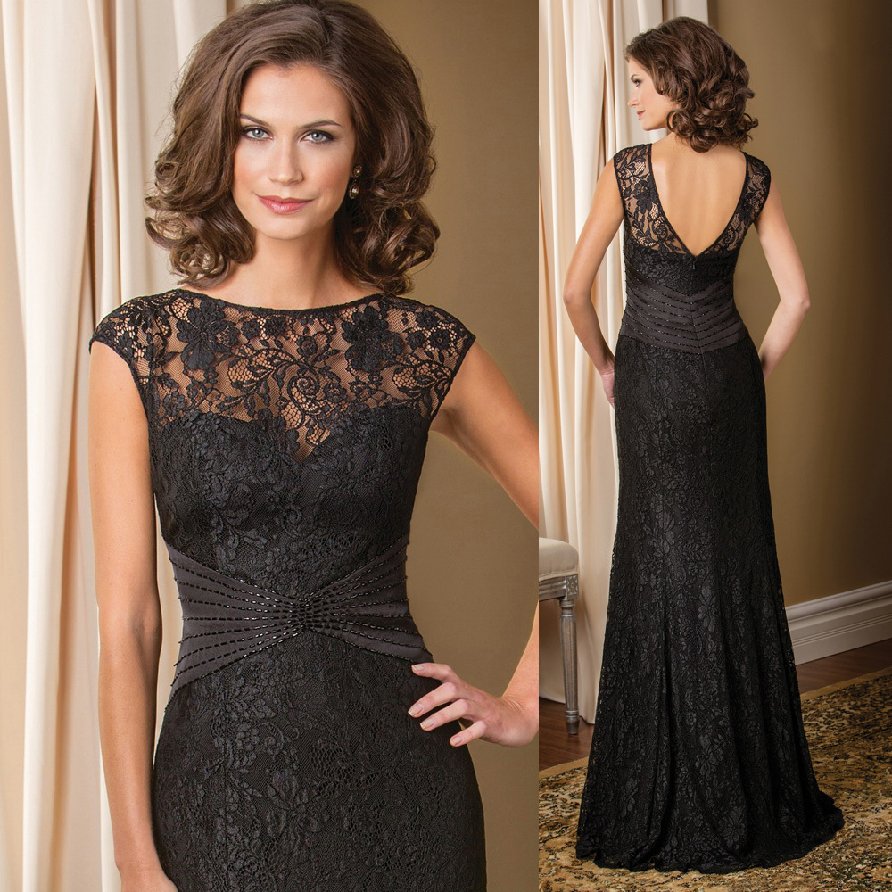 Mother Of The Groom Gowns: Vintage Black Groom Mother Of The Bride Lace Dresses Long