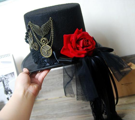 bb5b73f2aa5a8 Vintage Stunning Unique Steampunk Top Hat Black Gears Lace Veil Rose Wings  Chain Hats Party Accessories