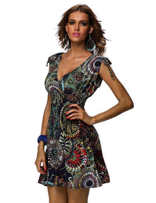 Printed Beach Dress High Quality Cheap Price Print Hippie ...