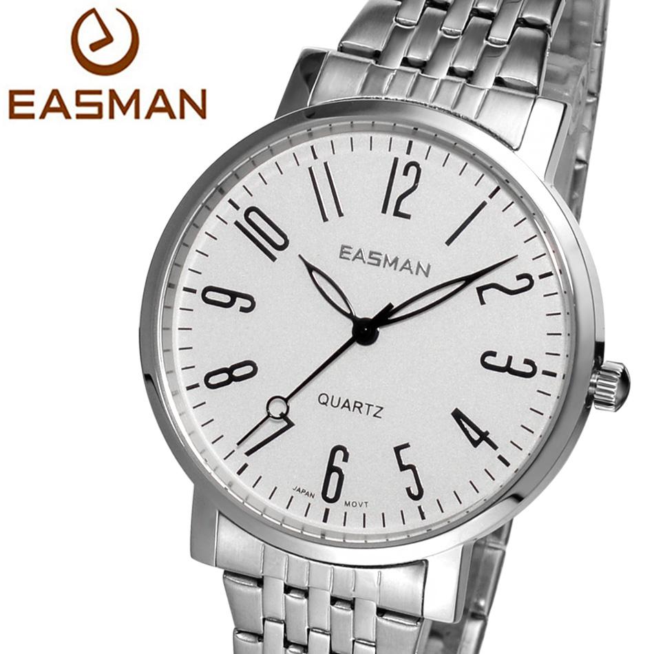 EASMAN Mens Watch Fashion Casual Steel Band Silver Black ...