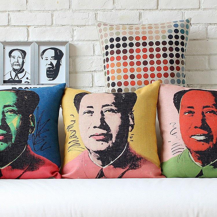 Free shipping throw pillow wedding decor linen fabric gift Hot sale 100% new 45cm John Lennon MEOW sofa cotton cushion cover