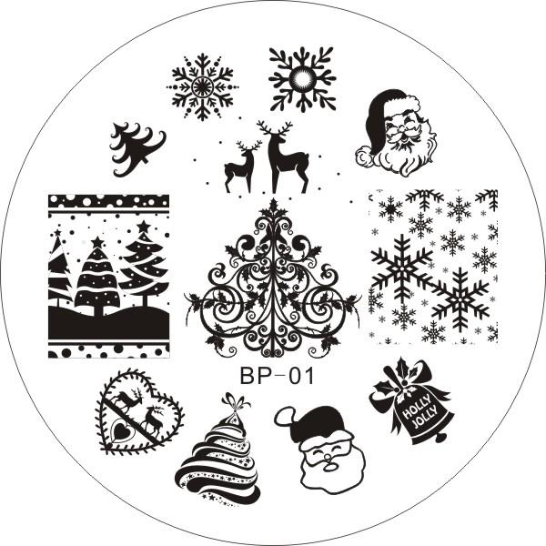 BP01 Nail Art Stamping Plates XMAS Image Round Stainless Steel Konad Stamp Polish Template Christmas Stencils