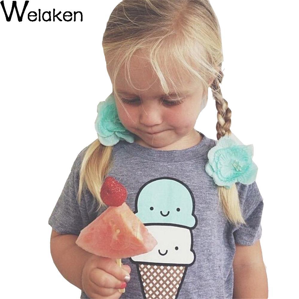 New Fashion 2016 Summer Style Children T Shirt Cartoon Ice Cream Print Boy Girl Tee Short