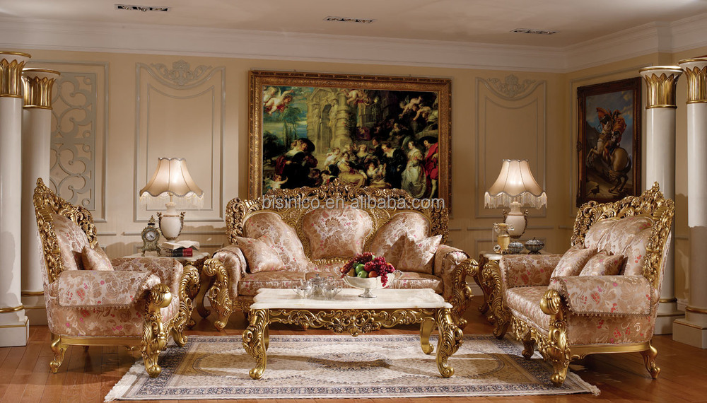 Noble Palace Design Solid Wood Carved Sofa Set Luxury Gold
