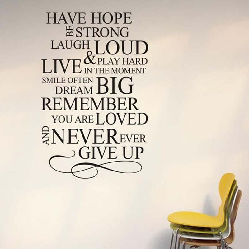 Never Ever Give Up Inspiring Sayings Wall Stickers Vinyl Removable
