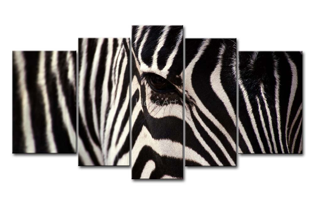 5 Piece Black And White Wall Art Painting Zebra Face ...