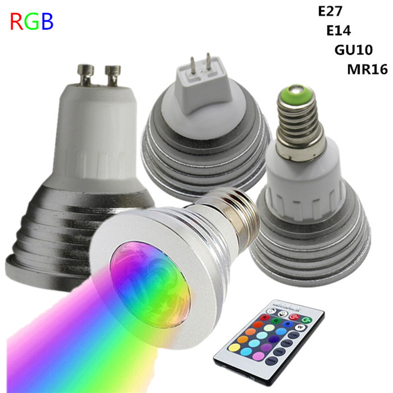 spot led dimmable e27 e14 gu10 mr16 spotlight bulb rgb changing color lamp home party holiday. Black Bedroom Furniture Sets. Home Design Ideas