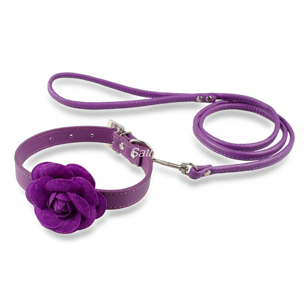 Cute Pink Puppy Dog Cat Flower Leather Collar Leash Set