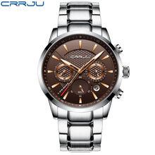 CRRJU оригинальные Роскошные брендовые кварцевые часы из нержавеющей стали, мужские часы с календарем, спортивные военные наручные часы, розо...(Китай)