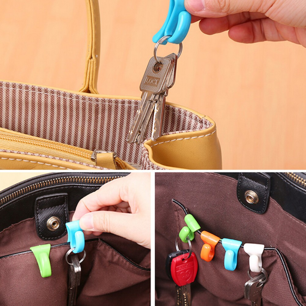 2pcs Home Plastic Novelty Mini Cute Creative Anti-lost Hook Within The Bag Key Storage Holder Rack Robe Hooks Bathroom Hardware At Any Cost Home Improvement Robe Hooks