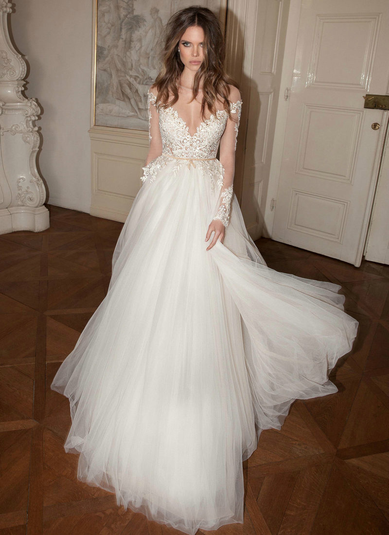 Aliexpress.com : Buy Elegant Long Sleeve Applique Lace ...