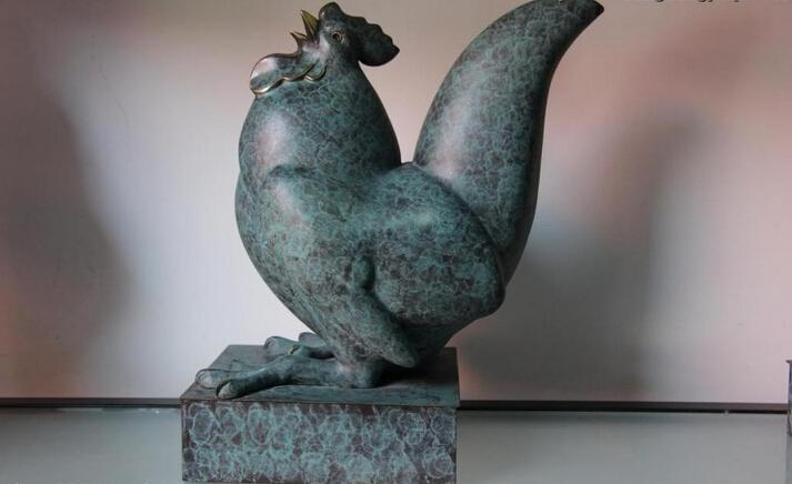 song voge gem S0673 Furniture <font><b>Decoration</b></font> Bronze Copper Abstract Chicken <font><b>rooster</b></font> cock Art Sculpture