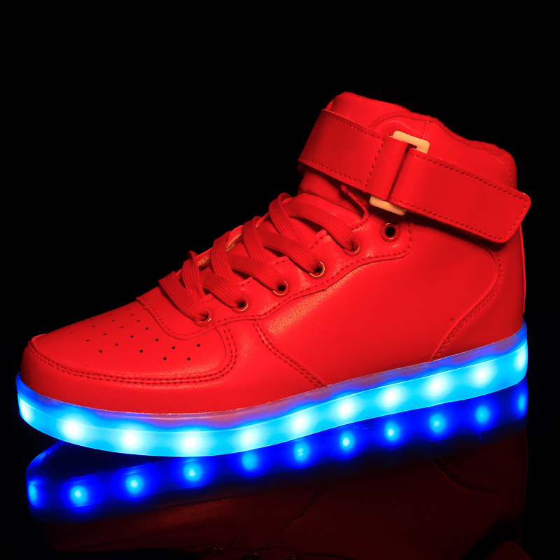New 2016 children s led colorful luminous usb lamp paternity high top Kids light up AirForce