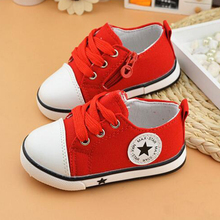 Classic child canvas shoes soft outsole male female child canvas shoes cow muscle outsole lacing solid