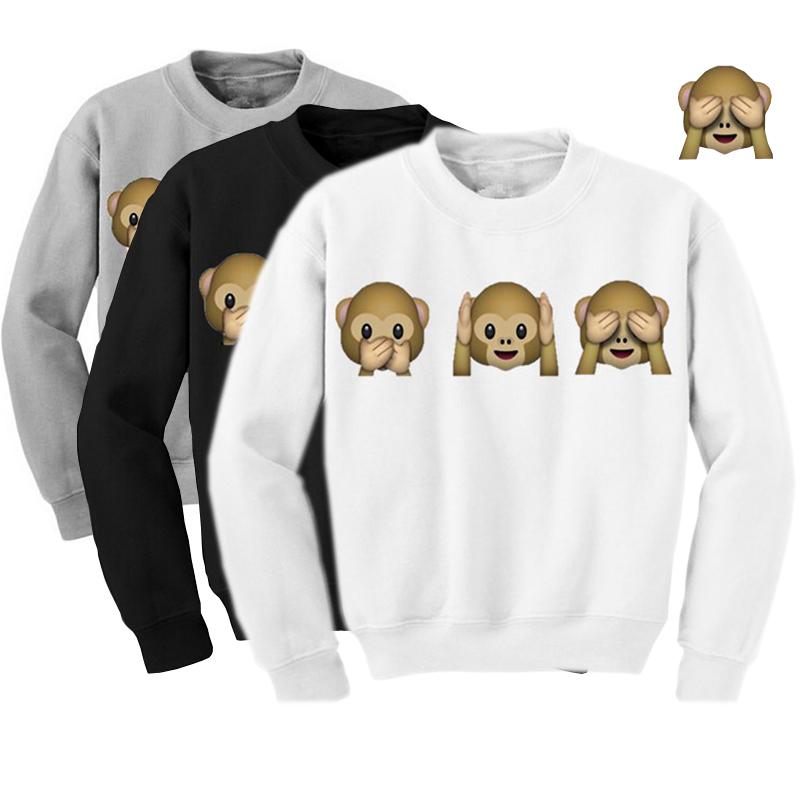 Sudaderas mujer 2015 Autumn Casual Cartoon kawaii Cute 3D Sweatshirt Women Monkeys Adventure Time Sweat shirt