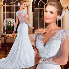 Vestido De Noiva 2015 sereia See Through Back Mermaid Wedding Dresses Sexy Long Sleeve Wedding Dresses 2015 Lace Wedding Dress
