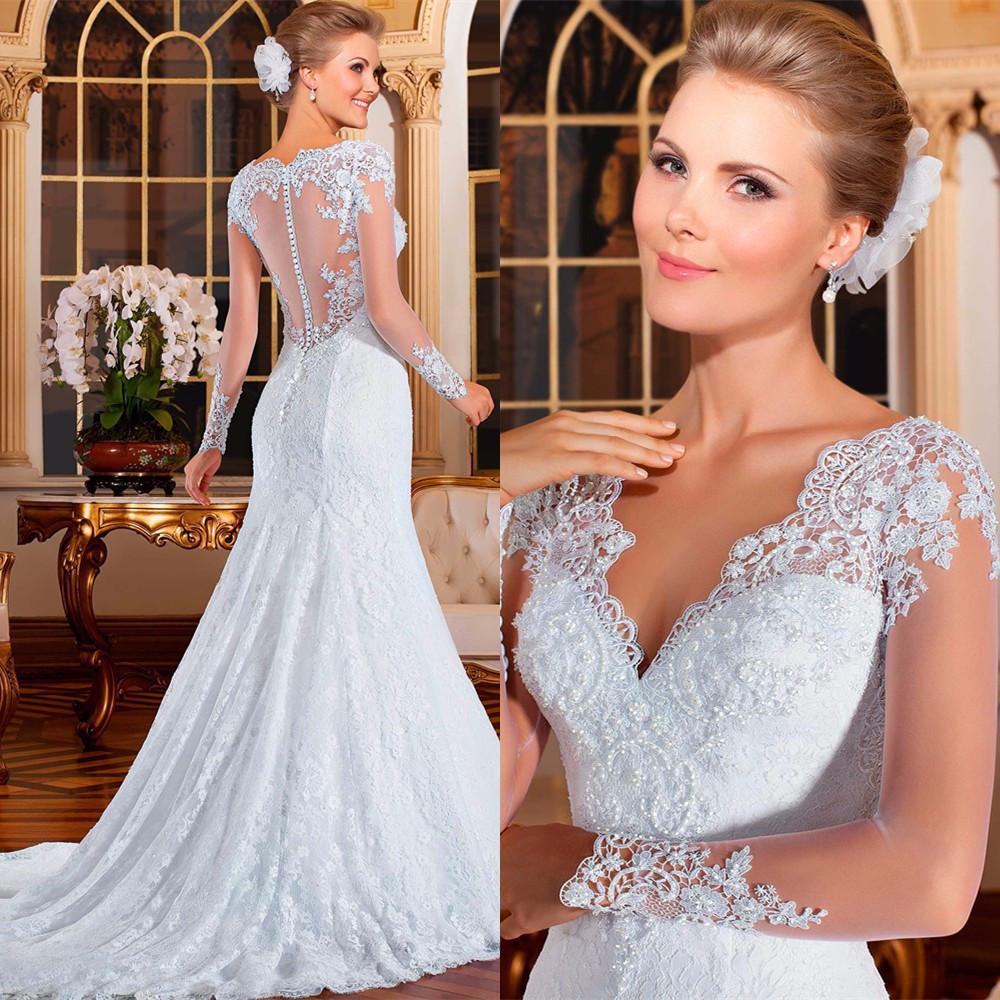 Vestido De Noiva 2016 sereia See Through Back Mermaid Wedding Dresses Sexy Long Sleeve Wedding Dresses