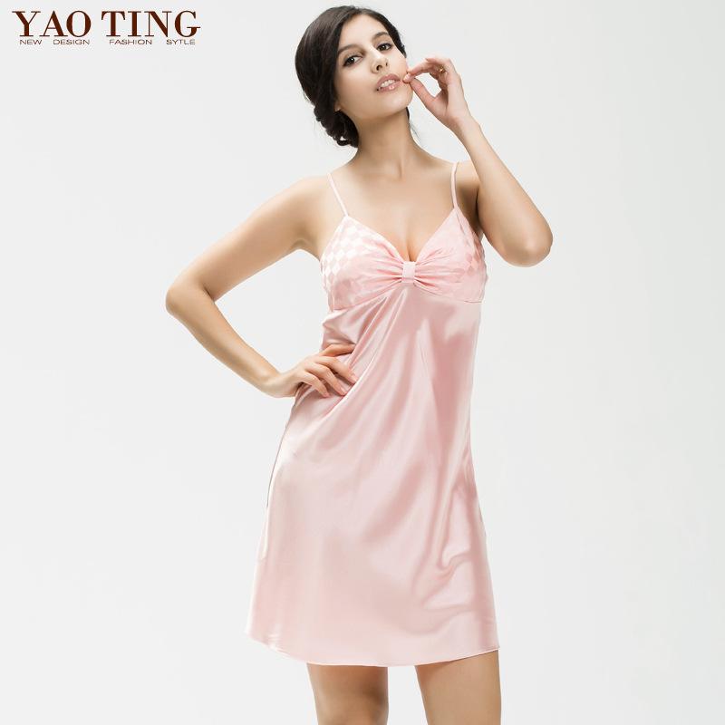 6aa576cbac ... Ladies Sexy Silk Satin Night Dress Sleeveless Nighties V-neck Nightgown  Plus Size Nightdress Lace ...