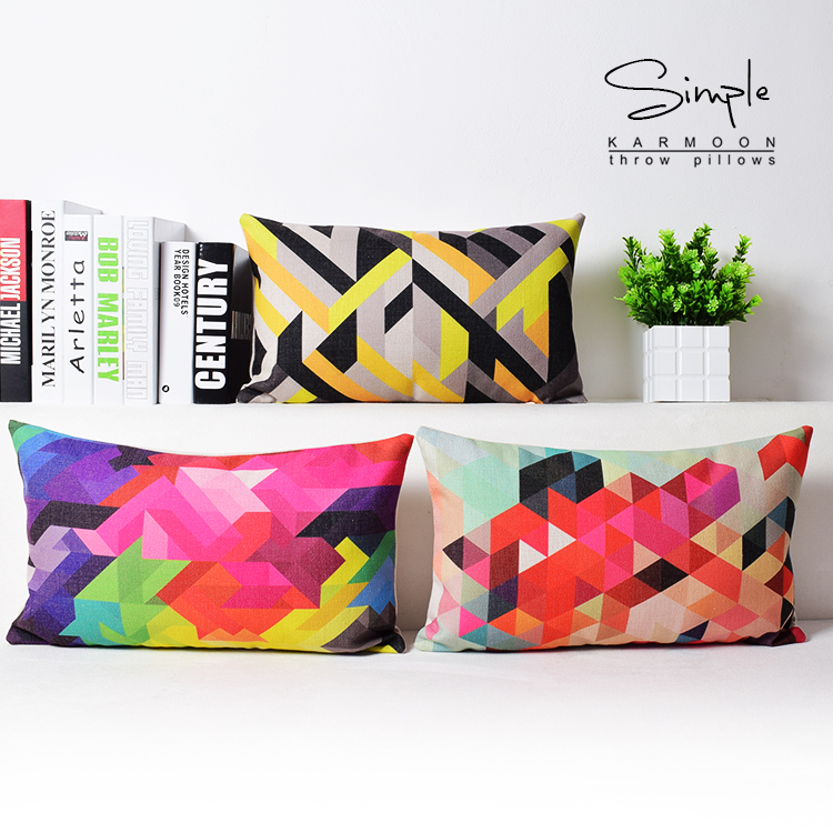 Free shipping Scandinavian style Home Pillow Decoration Colorful Creative Cushions For Sofas Abstract Geometric Throw Pillows