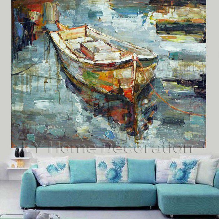 Hand Painted Abstract Canvas Sea Oil Paintings Wall Art Ships Modern Home Decoration For Living Room Picture