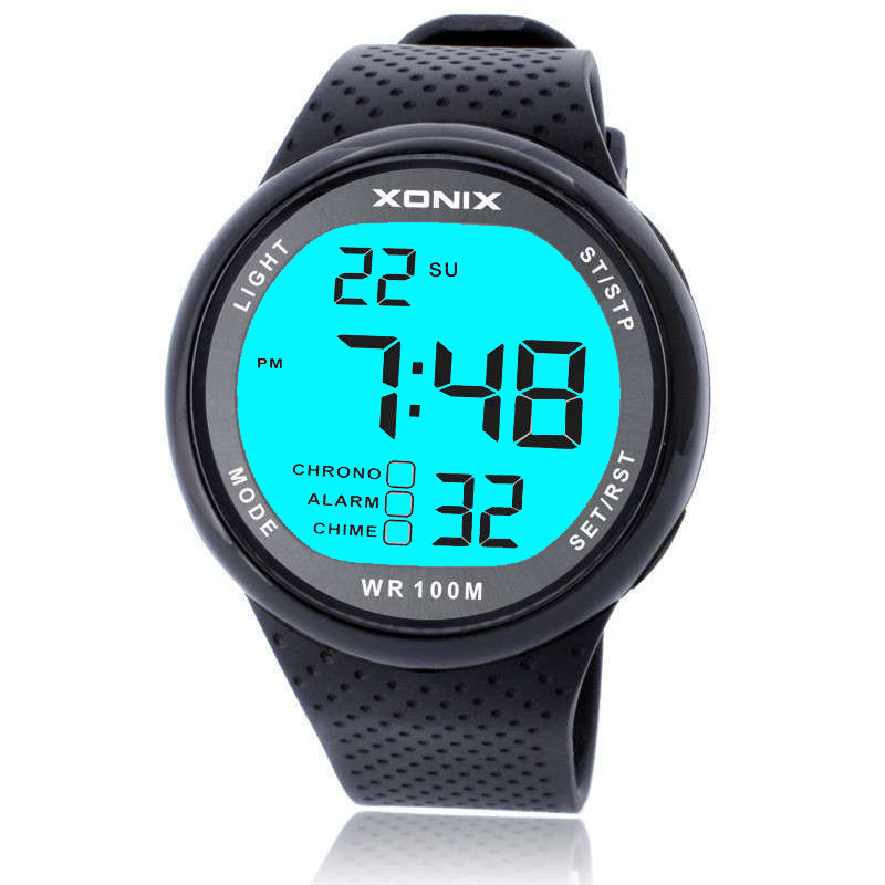 2015 Xonix Спортивные цифровые наручные мужские часы с подсветкой водонепроницаемые глубина часы 100м для дайвинга плавания часы для дайвинга