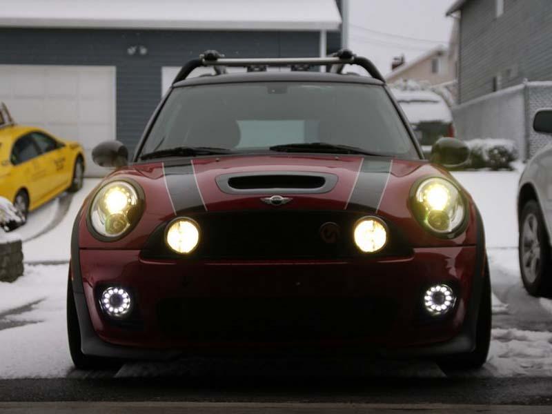 Автомобиль из светодиодов 12 В drl дневного света комплекты для мини купер R55 R56 R57 R58 R59 R60 100% водонепроницаемый дальнего туман