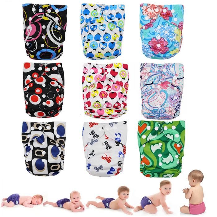 Good Multicolor Reusable Baby Diapers One Size Snap Cloth Baby Diapers Non Disposable Nappies for 8