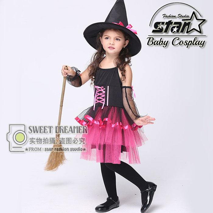 2016 New Design Halloween Carnival font b Children b font Cosplay Witch Costume font b Fancy