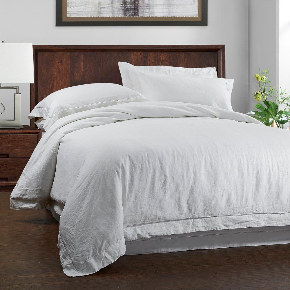 100 linge pierre laver ensemble de literie housse de couette et taie d 39 oreiller avec broderie. Black Bedroom Furniture Sets. Home Design Ideas