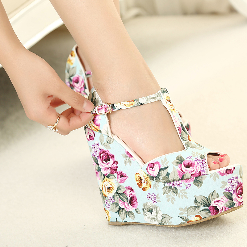 Free shipping wedges high heels fashion flowers print 2014 ...