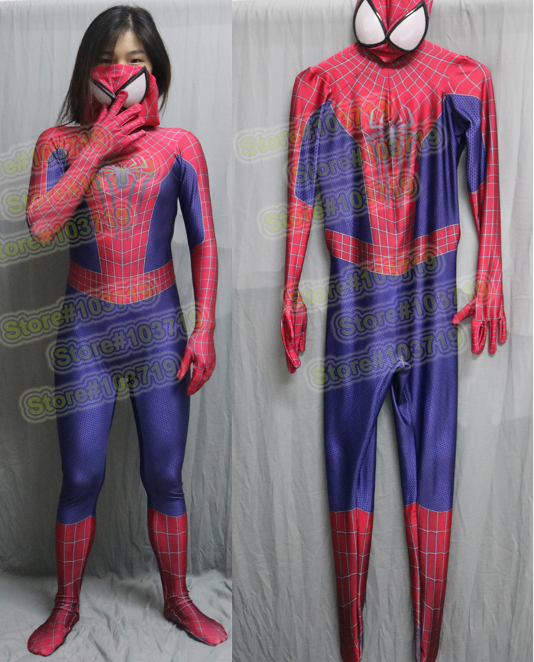 Linglong High Quality Custom Made Amazing Spider Man 2 Cosplay Costume Zentai Suit Super Hero Zentai & Linglong-150 High Quality Custom Made Super Hero Amazing Spider-Man ...