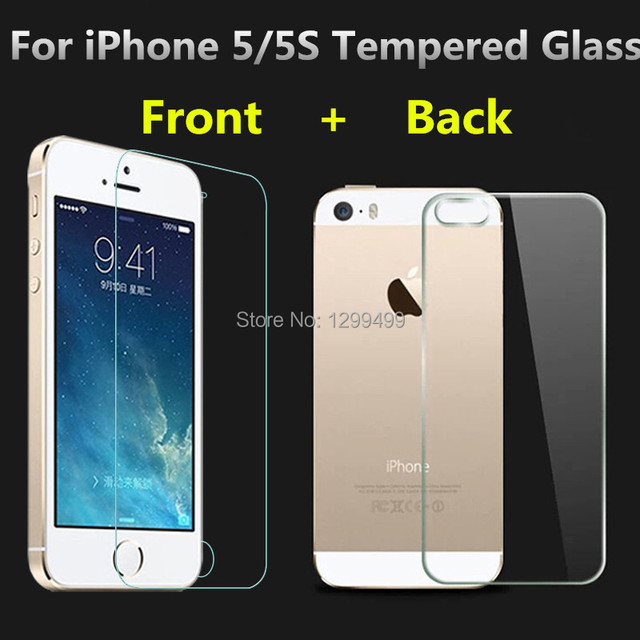 0.3mm 9H Front + Back Tempered Glass For iPhone 5 5S