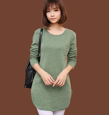 7 цветов новый зиму твердые дна tshirt женщин с длинными рукавами долго футболку осень свободного покроя топы B389