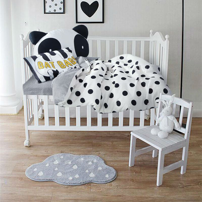 Wholesale Papamima Simple Black Dots White Crib Set 3cotton Linens