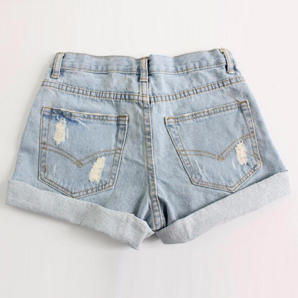 Лето женщины винтажный деним завышенная талия шорты женщины светло-синий шорты джинсы шорты S M L XL