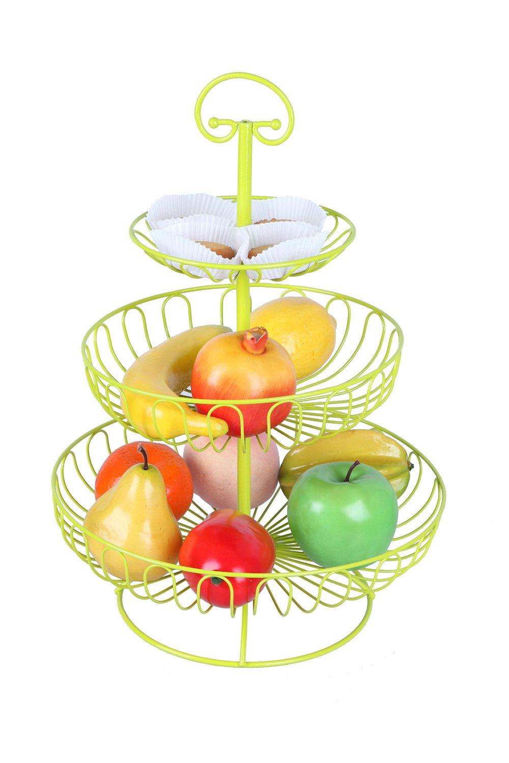 colorful fruit rack 3 tier steel layered free standing kitchen counter top fruit basket stand 16. Black Bedroom Furniture Sets. Home Design Ideas