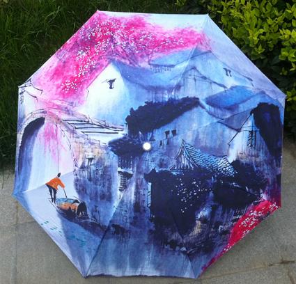 Картина маслом красный зонтик в три раза китайской традиционной озеро рисунок зонтик