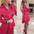 2016 New Autumn Fashion Women Shirt Dress Small Dots Printed Fashion Lrregular Long Sleeve Mini Vestidos