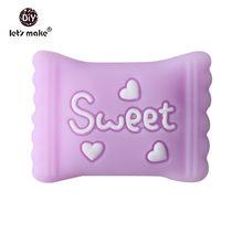 Let's Make Baby Teether 5 шт сладкие конфеты сердце силиконовые бусины пищевого силикона прорезыватель Tething игрушки детский продукт Душ Подарки(Китай)