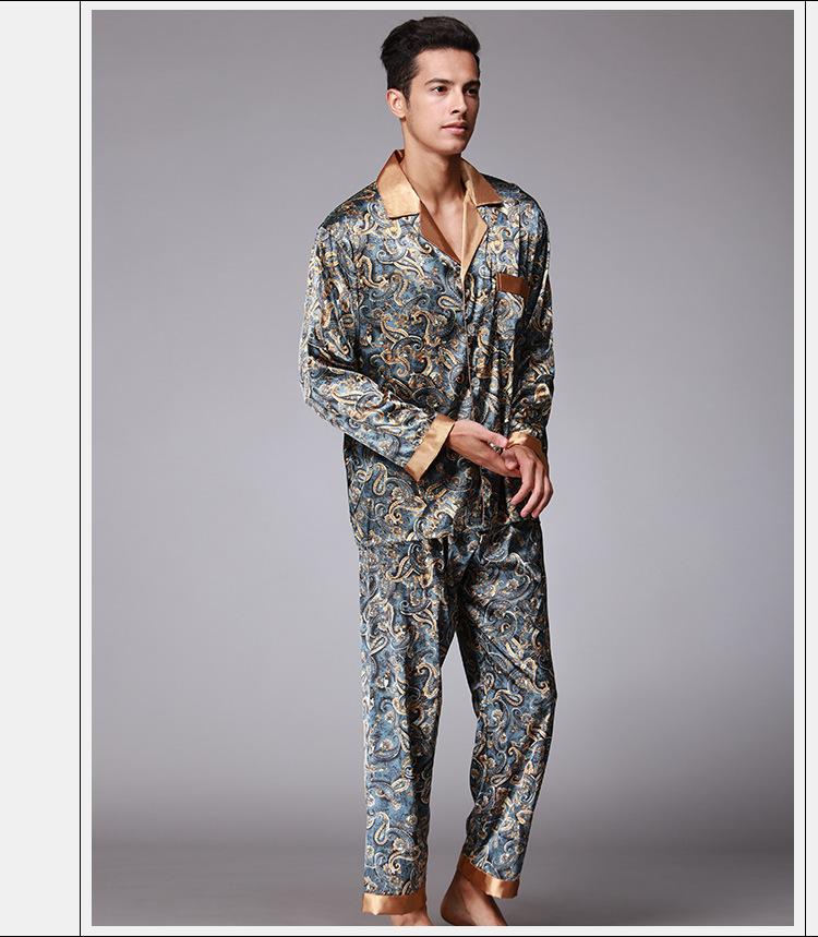 058e3efa7b 2019 New Luxury Pajamas Men Paisley Pattern Sleepwear Silk Long ...
