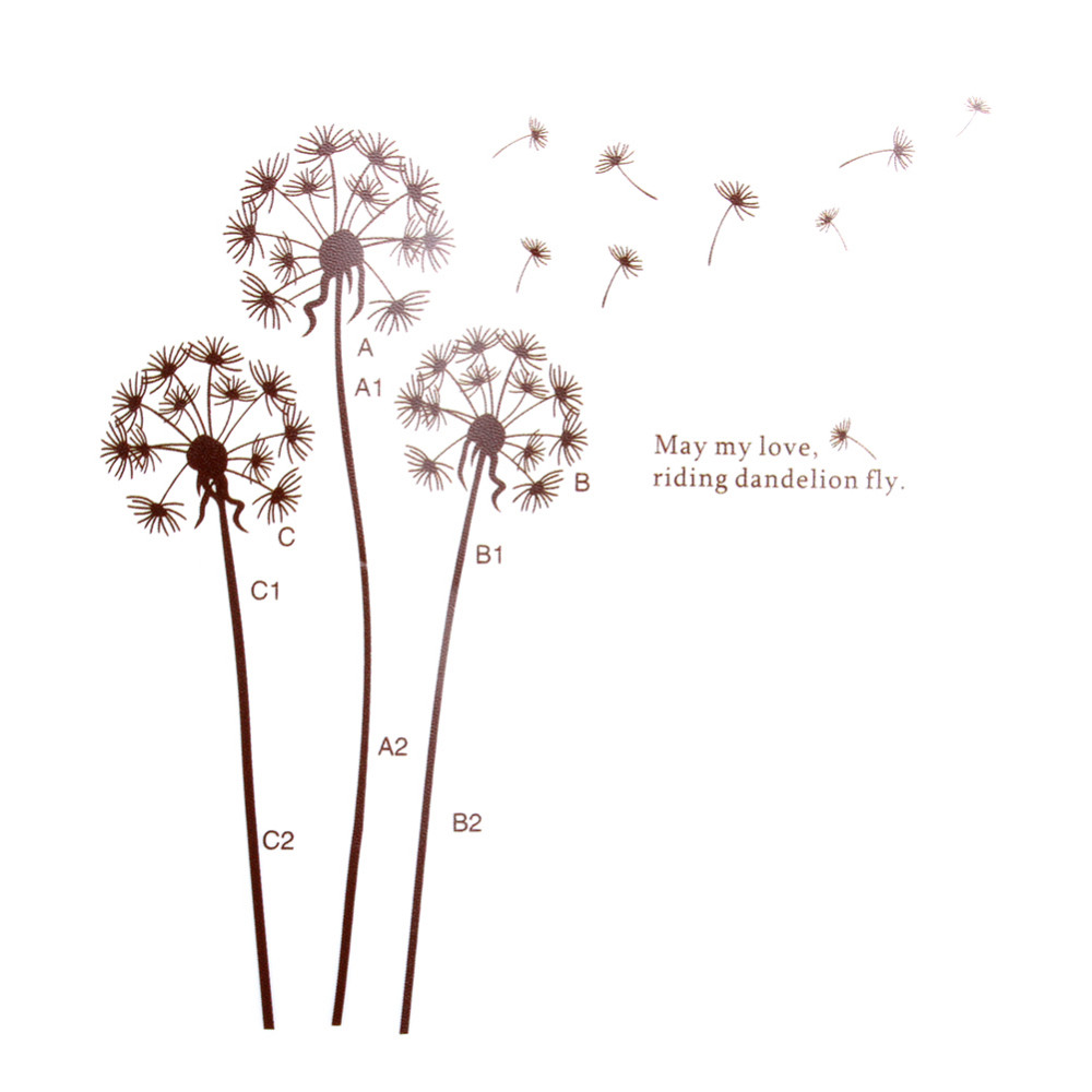 Nature Large Dandelion Flower Tree Wall Stickers Decal Home Decor Removeable
