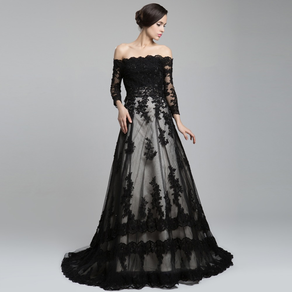 Off The Shoulder Long Sleeve Lace Long Train A Line