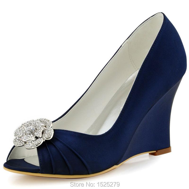 WP1547 Evening Weeding Women Shoes Navy Blue Peep Toe