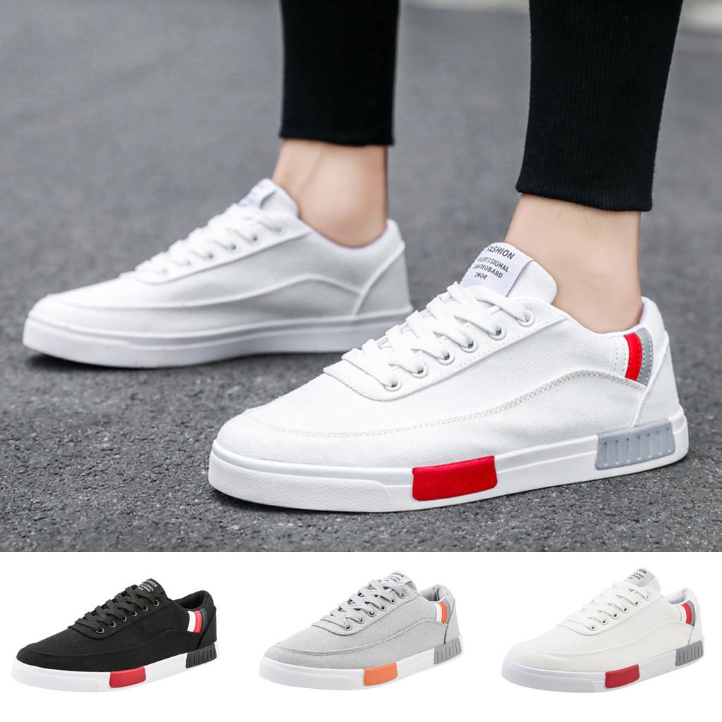 Męskie buty 2019 wiosenne letnie mieszane kolory męskie oddychające materiałowe sznurowane trampki jednokolorowe odkryte buty w stylu casual, biurowy