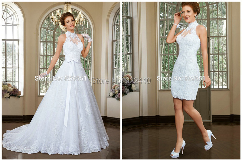 Vestido-De-Noiva-High-Neck-Wedding-Dresses-With-Detachable