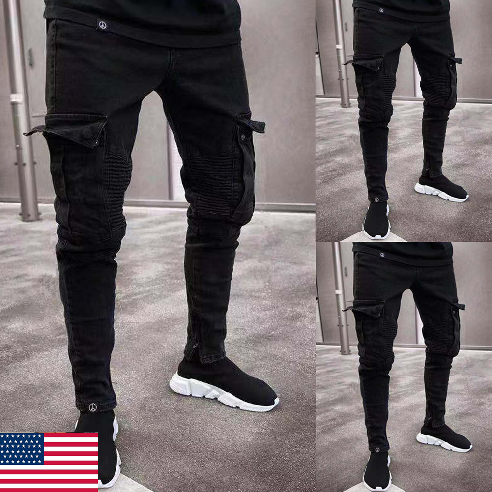 Mens Comfy Stretch Skinny Denim Jeans Pleated Cargo Pants Men Skinny Jeans  Frayed Destroyed Trousers Casual Denim Pants Slim Fit