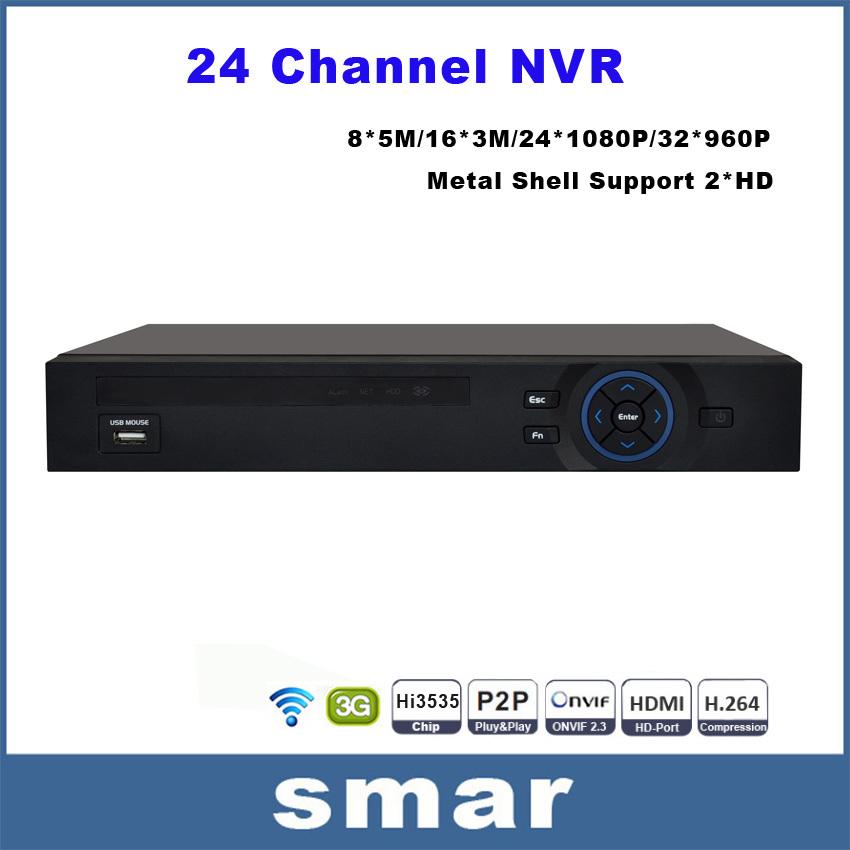 FULL HD 24 Channel 1080P CCTV NVR 32CH 960P NVR 2 SATA HDD Ports XMEYE ONVIF P2P HDMI VGA CCTV Video Recorder Support 3G WIFI