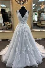 Vestidos de noiva 2019 сексуальное кружевное Тюлевое ТРАПЕЦИЕВИДНОЕ свадебное платье с v-образным вырезом винтажное свадебное платье(China)