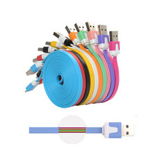 1M 2M 3M Noodle Flat Colorful Sync Data Cord 2.0 USB Charging Cable for Iphone se 5 5s 6 6s plus IOS 7 8 9 for ipad pro charger